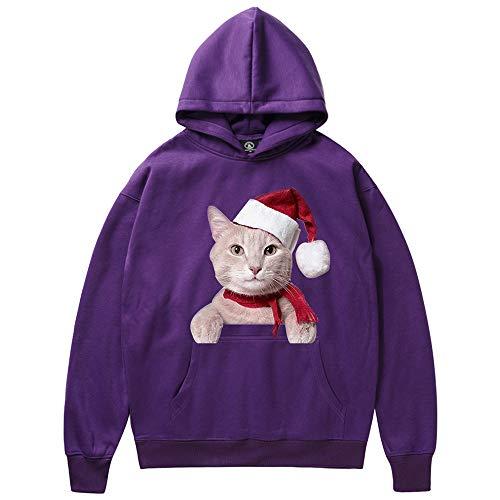 (SEWORLD Weihnachten Christmas Herren Herbst Winter Männer Frau Weihnachten Katze Drucken Langarm Kapuzenpulli Tops Bluse(Violett,EU-52/CN-XL))