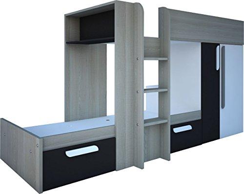 Trasman BO1 Etagenbett mit 2 Matratzenunterlagen, melaminharzbeschichtete Holzspanplatten, molina / weiß / graphit, 283 x 110 x 150 cm