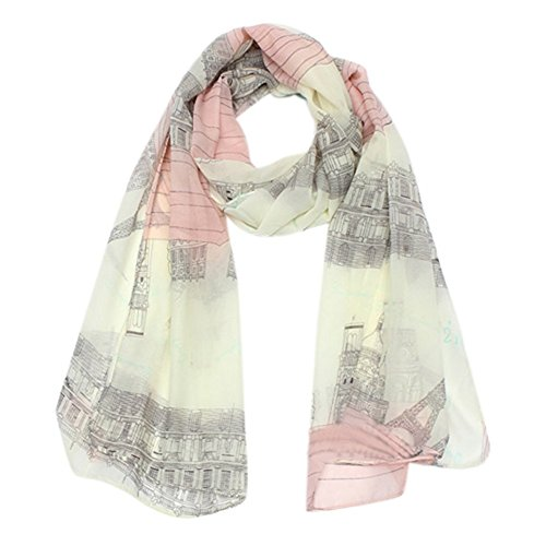 Price comparison product image LIFECART Voile Soft Long Scarf Eiffel Tower Printed Wrap Shawl Scarves