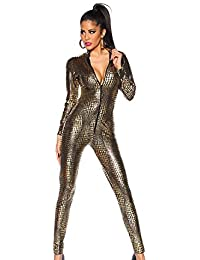 359cc26d614d Women s Shiny Catsuit Snakeskin Pattern Unitard Faux Leather Jumpsuit  Cosplay Ladies Girl Fancy Dress Playsuit Sexy