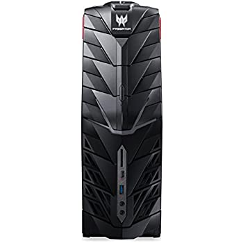 Acer Predator G1-710 Gaming Desktop PC (Intel Core i7-7700, 16GB RAM, 512GB SSD, 1.000GB HDD, GeForce GTX 1080 (8GB VRAM), DVD, Win 10) schwarz/rot