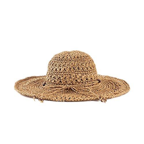 En été Mme Crochet Chapeau Rond Cap Station Balnéaire Dayan Mao Des Arcs Chapeau à La Main brown