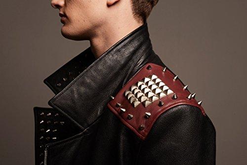 Herren Designer Fashion Biker Lederjacke, Schwarz – Rot, 100% Leder, Metal Zips and Studs, Trendy Vintage Rock Style Bikerjacke For Männer XS S M L XL XXL - 4