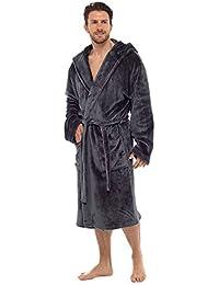 1199b6c071 Wolf   Harte Men s Luxury Supersoft Flannel Fleece Hooded Bath Robe