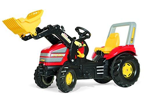 Rolly Toys Anhänger Rolly Toys 046775 x-Trac Traktor | Trettraktor mit Lader | Frontlader/Schauffellader mit Überrollbügel, Sitzverstellung, Flüsterreifen, Motorhaube zum Öffnen | Farbe rot