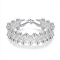 BESTPICKS 925 Sterling Silver Rock Design Ball Beads Bangle Bracelet Gift for Women