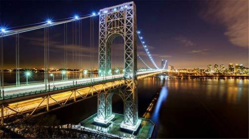 ZSFFSZ Puzzle 1000 Stück George Washington Bridge NYC Klassische Puzzle 3D Puzzle DIY Kit Holzspielzeug Einzigartiges Geschenk Wohnkultur