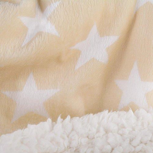 Bettwäsche 2tlg 155x220 Lammfell Sherpa Optik Nicki Sterne Lamm Fell Wende Bettwäsche Winter Bettbezug Bettgarnitur flauschig kuschelig mollig warm CelinaTex 5000118 Fantasia Stella beige weiß