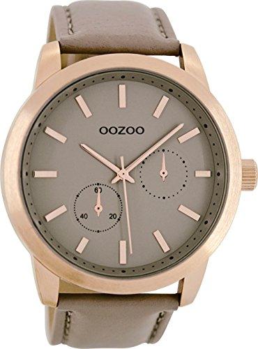 Oozoo Unisex Erwachsene Chronograph Quarz Uhr mit Leder Armband C8577