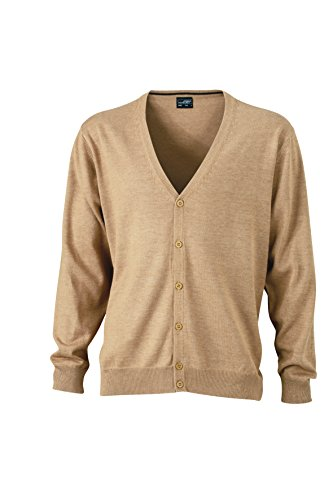 James & Nicholson Herren V-Neck Cardigan Jacken Beige (Camel)
