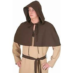 Capucha medieval capa marrón con capucha con puntillas