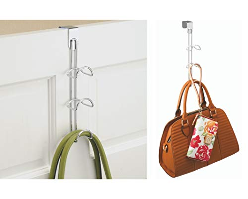 iDesign Handtaschenhalter für Garderobe und Kleiderschrank, kleiner Bügel mit 3 Haken aus Metall, Hängeorganizer für Taschen und Accessoires, silberfarben