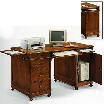 Computertisch holz  Schreibtisch Nußbaum und Tanganyika Holz cm 140x80, h 81 ...
