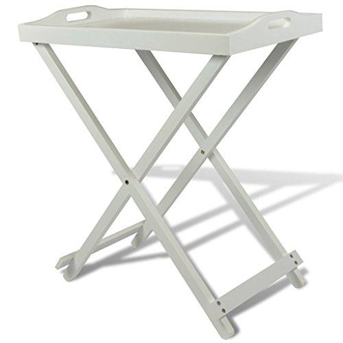 vidaXL Homestyle Table d'appoint en MDF Pliable Blanche Tables d'appoint Table Pliable