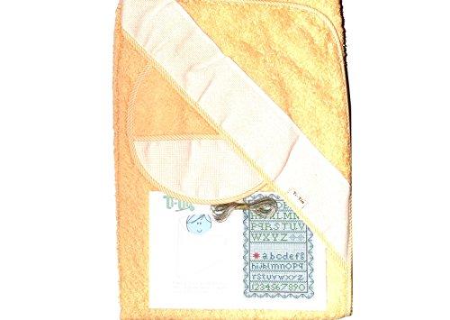 Capa de Baño y Babero de Punto De cruz en Color Melocotón y con hilos(80x80) Fabricada en España 100% algodón …