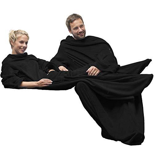 CelinaTex TV-Decke Kuscheldecke mit Ärmel und Fuß Tasche XL 170 x 200 cm schwarz Coral Fleece Tagesdecke Mikrofaser