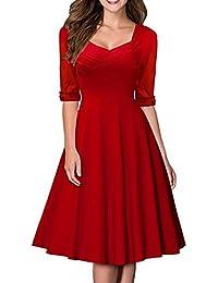 MABELER Damen Elegant Kurzarm Business Rockabilly Cocktailkleid Retro 50er Jahre Party Stretch Kleid