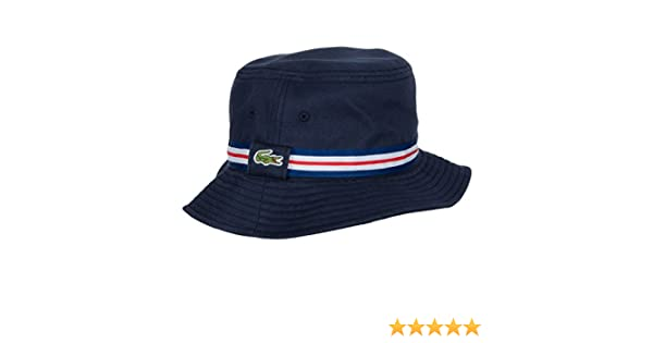 Lacoste 2016 Mens Tricolor Grosgrain Bucket Hat - Navy Blue-White - L   Amazon.co.uk  Clothing f3071f240084