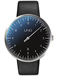 + Botta-diseño UNO Carbon - Reloj de Pulsera automático reloj de la mano, acero inoxidable, dial negro, correa de cuero
