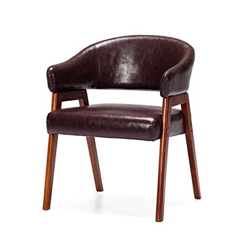 XNLIFE Einfach High-End-Esszimmerstuhl Sessel Freizeit Sofa, Kunstleder Sitzkissen Massivholz Barhocker aus Eiche Natur, mit hoher Rückenlehne Für Küche Oder Bar (Color : Brown) -
