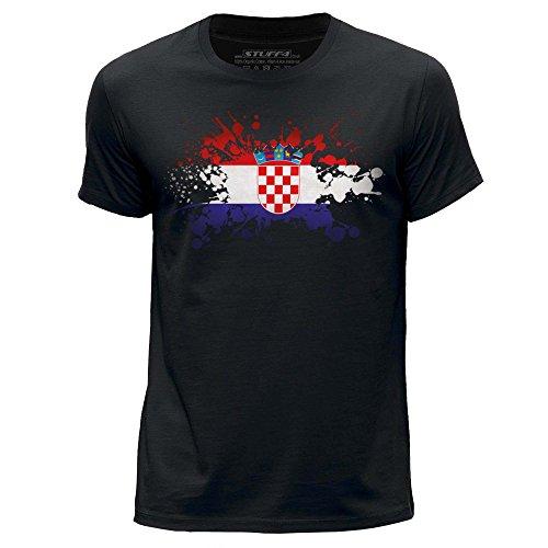 Kroatische Flagge (STUFF4 Herren/groß (L)/Schwarz/Rundhals T-Shirt/Kroatien/Kroatisch Flagge Splat)