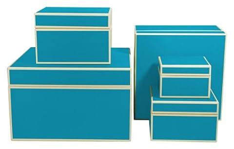 Semikolon 5er Schachtelsatz in verschiedenen Größen turquoise (türkis)   Ideal als Geschenkboxen, Geschenkschachteln, Aufbewahrungsboxen oder Deko-Schachteln   Je eine Box in den Formaten 29 x 29 x 18 cm   24 x 24 x 16 cm   18 x18 x12 cm   16 x 16 x 10 cm   12 x 12 x 8 (24 Satz Box)