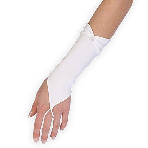 Brauthandschuhe fingerlos Braut Handschuhe Perlen Hochzeit Weiß Ivory Satin Stulpen (Ivory / Elfenbein)