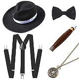 ArtiDeco 1920s Herren Accessoires Mafia Gatsby Kostüm Set inklusive Panama Gangster Hut Verstellbar Elastisch Hosenträger Herren Halsschleife Fliege Taschenuhr und Plastik Zigarre (Set-10)