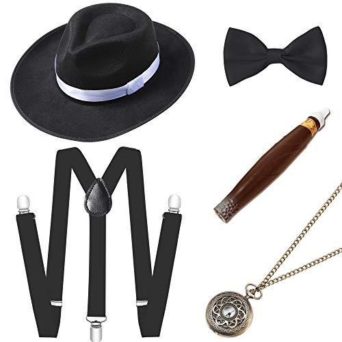 ArtiDeco 1920s Herren Accessoires Mafia Gatsby Kostüm Set inklusive Panama Gangster Hut Verstellbar Elastisch Hosenträger Herren Halsschleife Fliege Taschenuhr und Plastik Zigarre ()