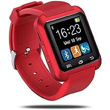 E821 U80 Smart Watch Pulsera Smartphone Reloj Inteligente por Bluetooth 4.0,Anti-perdida Sportswatch Podómetro Ajuste para Teléfonos Android IOS iPhone 5/6s,Samsung Galaxy,Sony,HTC,LG,HUAWEI,ZTE,Xiamomi. ( Rojo )