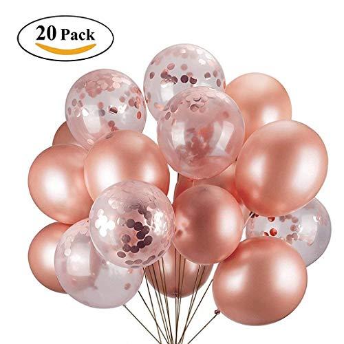 ICheap Konfetti Luftballons Rosegold 20 Stück, Ballons Rosa für Hochzeit, Graduierung, Vorschlag, Baby Shower Girl Adult Geburtstag Party Dekorationen
