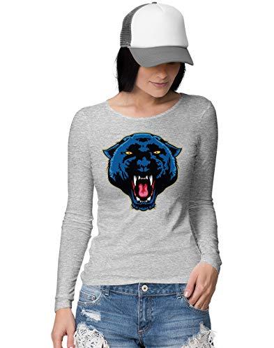 BLAK TEE Angry Panther Face Damen Langarmshirt L