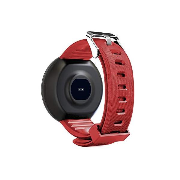 Minoni Smartwatch, Fitness Pulsera Reloj Completo Touch Screen Fitness Reloj IP68 estanco Fitness Tracker Sportuhr con podómetro Pulsuhren cronómetro para señoras señores Smart Watch (Rojo) 3