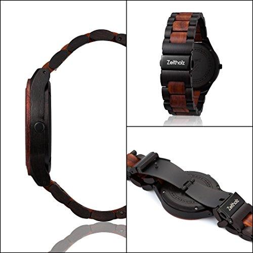 Zeitholz Herren-Holzuhr analog mit Sandelholz-Armband Modell Zittau schwarz - braun - 6