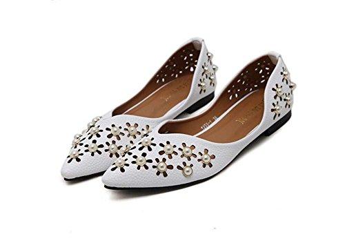 Pumpen-Slip auf Ballerina-Flats Frauen Spitz Zeh Hohl Perle reine Farbe flache Schuhe eu Größe 35-39 ( Color : White , Size : 38 ) (Auf Schuhe Pumpen Frauen Verkauf Für)