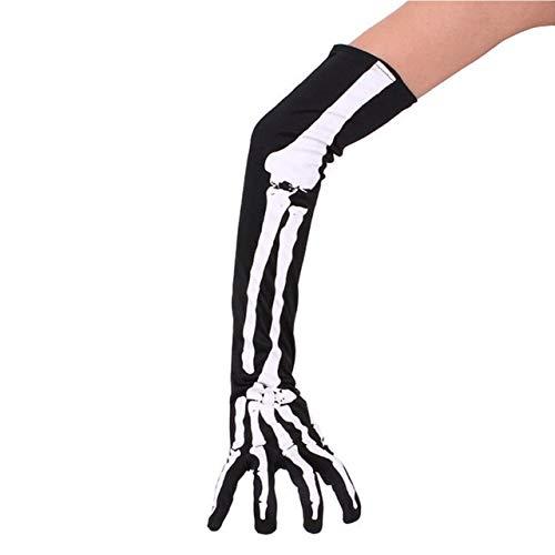 WSCOLL Halloween Handschuhe Horrible Skeleton Scary Cosplay Kostüm Dekor Finger Bone Ghost Claw Gedruckt Langarm Waschbar Armlinge - Monster High Ghost Kostüm