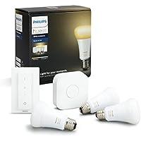 Philips Hue White Ambiance - Kit de 3 bombillas LED E27 con puente y mando, 9.5 W, iluminación inteligente, regulable, compatible con Amazon Alexa, Apple HomeKit y Google Assistant