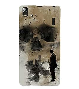 Grey Skull 3D Hard Polycarbonate Designer Back Case Cover for Lenovo A7000 :: Lenovo A7000 Plus :: Lenovo K3 Note