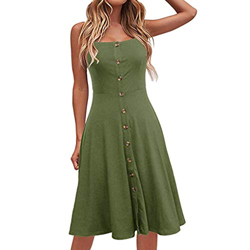 Hulky Damen Boho Kleid Sommer V-Ausschnitt Polka Dot Printing Kurzarm Swing A-Linie Minikleid Prinzessin Kleid(Grün,8)