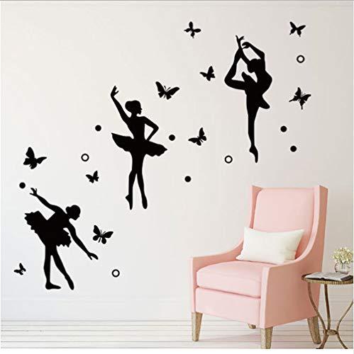 Große Größe Kreis Butterfly Dance Girl Wandaufkleber Dance Klassenzimmer Fenster Kinderzimmer Dekoration Wand Decals207 cm * 58 cm