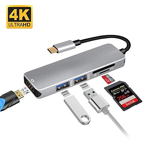 USB C Adapter, ibosi Cheng 5 in 1 USB C Hub Thunderbolt 3 Hub, Multiport USB C auf HDMI Adapter mit USB 3.0 Ports SD & TF Card Reader für MacBook Pro 2017/2016, Chromebook Pixel und Mehr - Für Sd-card-reader Hdmi