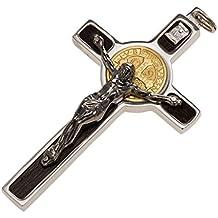 Colgante Cruz San Benito en plata 925 medalla oro 18K, 8 x 4 cm (2.96 x 1.70 inc.)