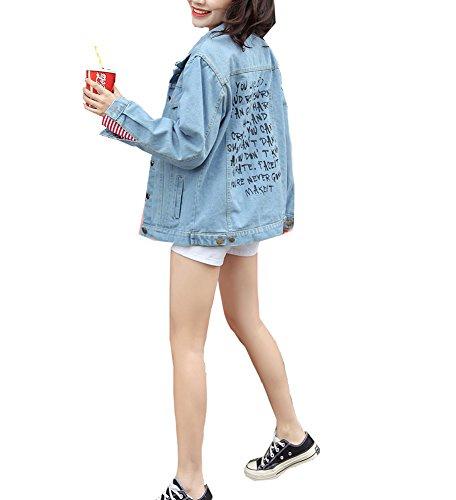 CYSTYLE Damen Jeans-Jacke Blouson Knopfverschluss Cut-Outs Denim Jacket (EU XS=Asia S)