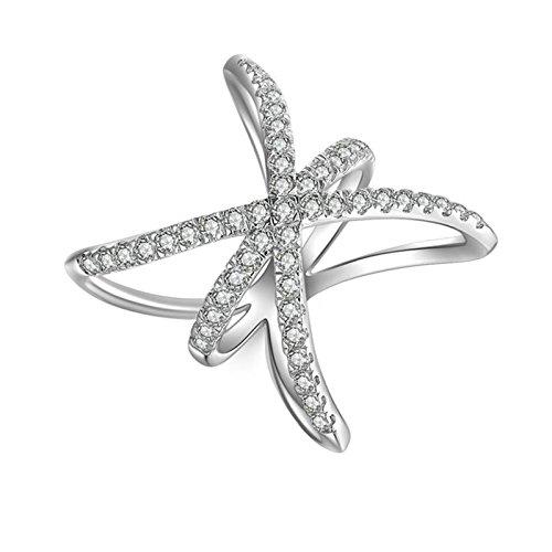 SonMo 925 Echt Silber Ring Hochzeit Ring Eheringe Heiratsantrag Ring Solitär Weiß Ringe mit Diamant Zirkonia Ring für Damen Größe 60 (19.1)