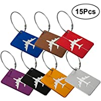 VORCOOL 15PCS Luggage Check Tag Aluminum Travel Luggage Baggage Handbag Tag (Random Color)