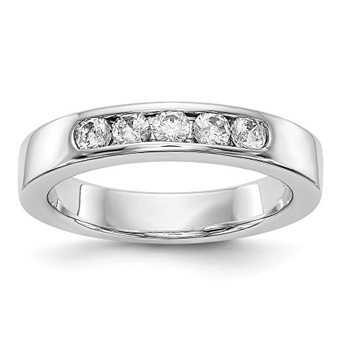 diamond2deal Damen 14 K Weiß Gold True Origin lab-grown Diamant 5 Stein Band Ringe, VS/E 0,395 Karat (Band Wedding Eternity Diamant)
