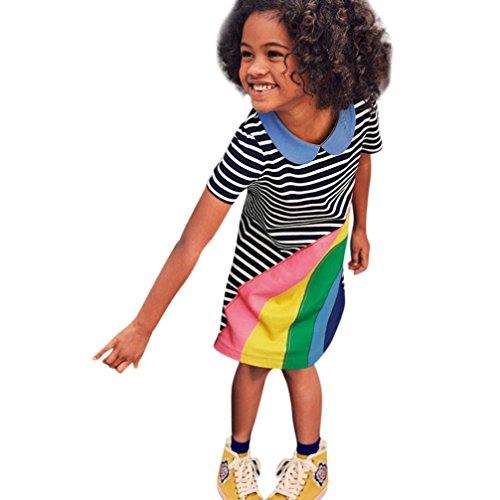 Amlaiworld mädchen Sommer Regenbogen Flickwerk t-Shirt Kleider Geschenke Party locker gestreift Druck Kleid niedlich Baby Gemütlich Sport Tops Dress, 0-6 Jahren (6 Jahren, Blau) - 2t Kleinkind Unterwäsche Mädchen