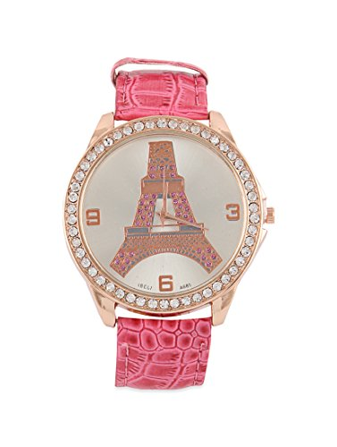 Young & Forever Pink Eiffel Tower Bracelet Watch For Women by CrazeeMania