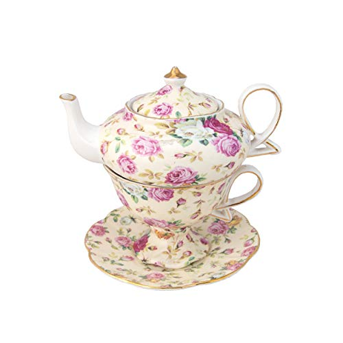 Gracie China 4-teilig Porzellan Tea for One, gestapelt Teekanne Tasse Untertasse, cremefarben Cottage Rose Chintz