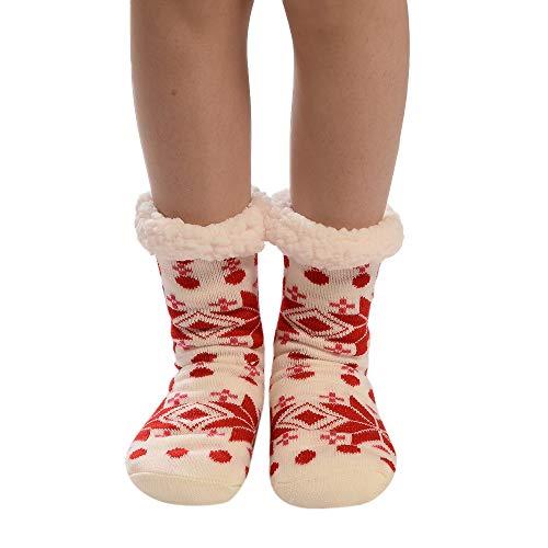 Weihnachten FOANA Dicke Haussocken Plüsch Innen-Socken Geschenk,Einheitsgröße -